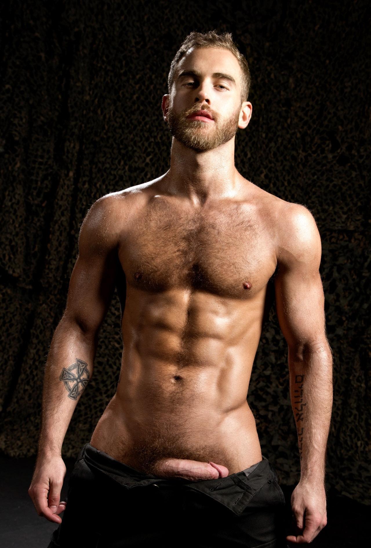 Voici une photo d'un bel homme nu blond avec une très belle bite et un corps parfait. Il est muclé, poilu, tatoué et barbu et entièrement à poil.